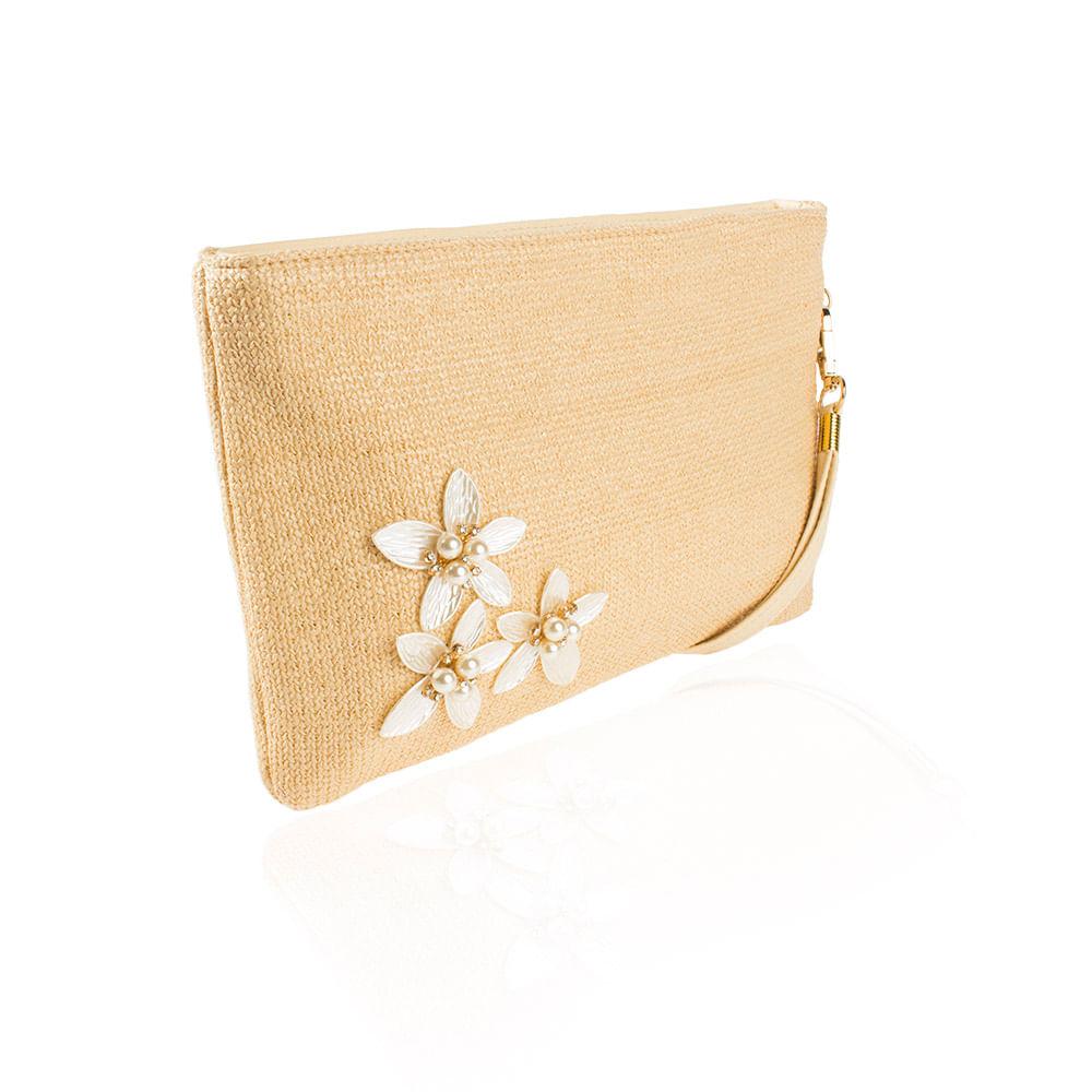 41b21c794 Bolsa Carteira Flores Dourado - lebriju