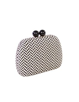 CLUTCH GRAFITE CHEVRON SHINE OFF WHITE